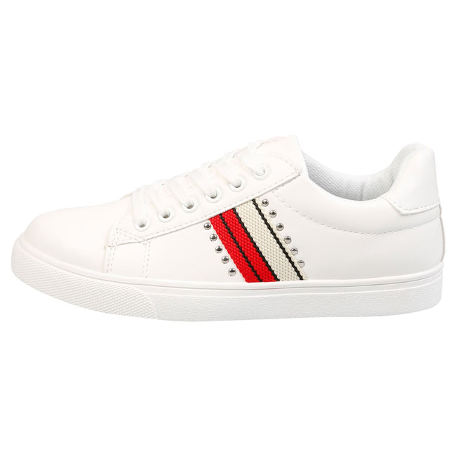 Verity Leather Look Stripe Trainers in White & Red