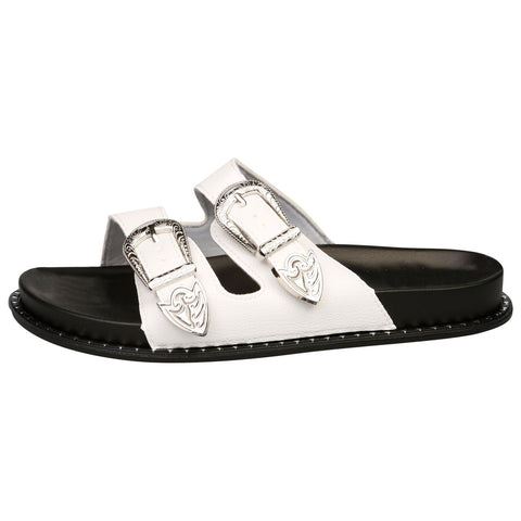 Harmoni Buckle Detail Flat Sandals in Chamagne