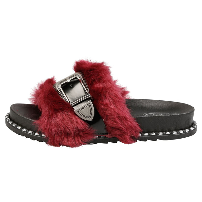 Taya Buckled Furry Sliders in Red