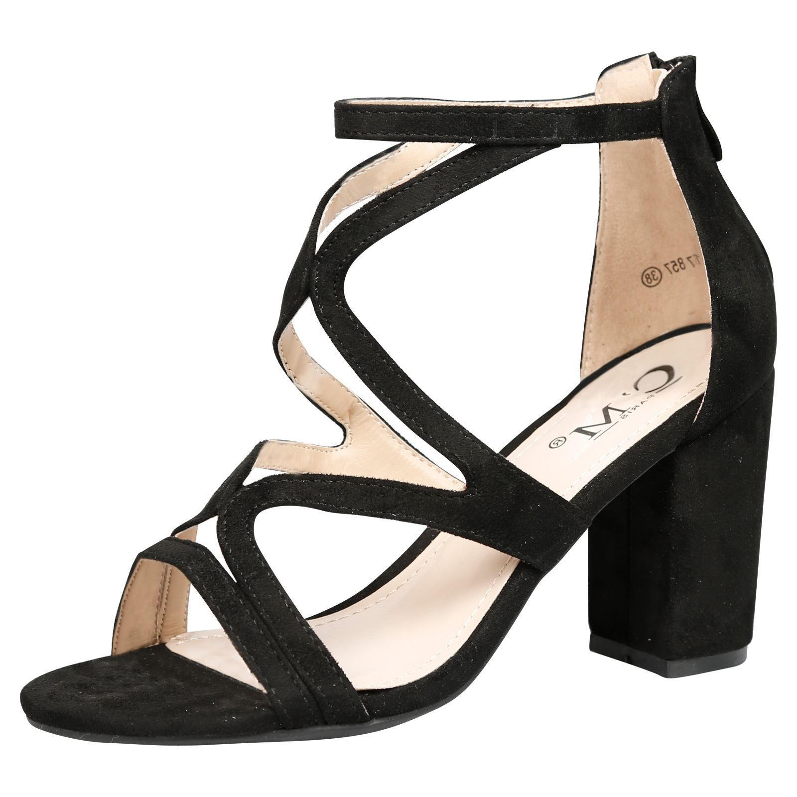 Lindsay Block Heel Cut Out Sandals in Black Faux Suede
