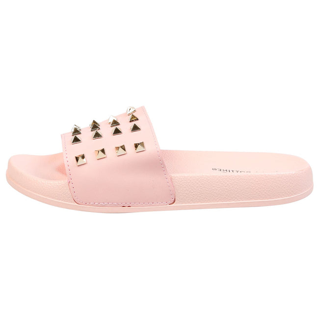 Patricia Studded Sliders in Pink Faux Leather