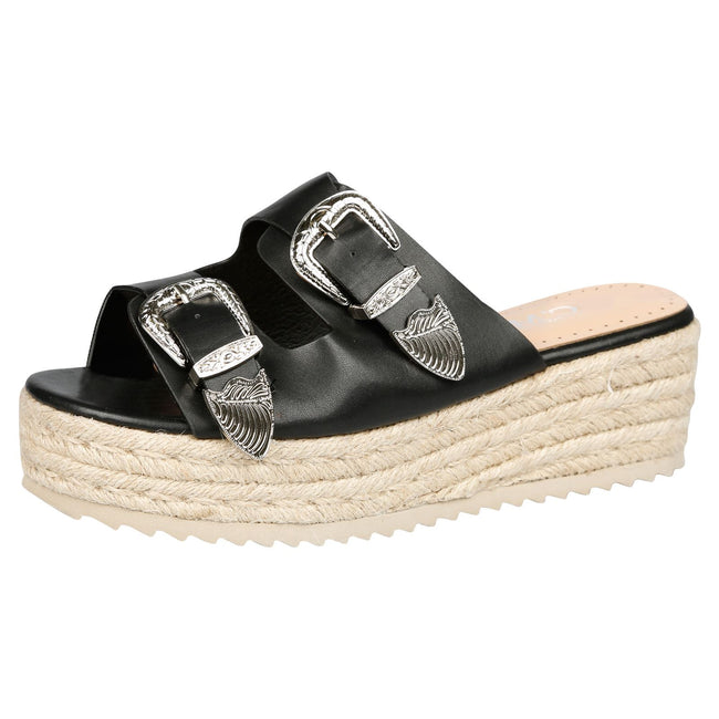Bernie Buckle Detail Flatform Espadrille Sliders in Black Faux Leather
