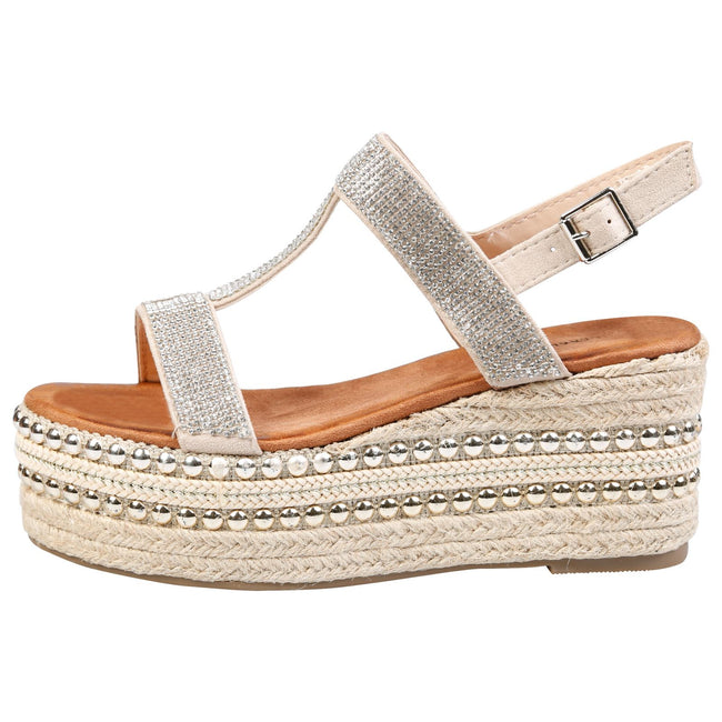 Brenda Diamante Espadrille Sandals in Beige Faux Suede