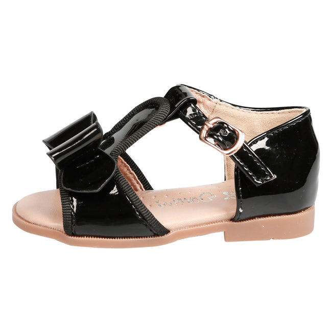 Lilian Girls T-Bar Bow Sandals in Black Patent - Feet First Fashion