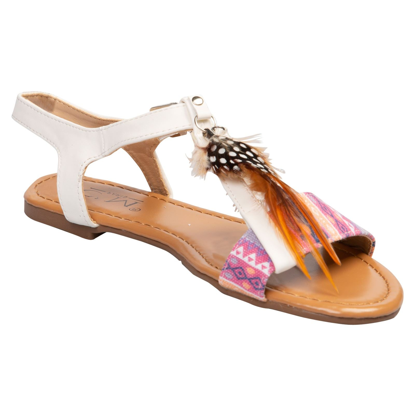Nora Feather and Tassel Sandals in White - Feet First Fashion
