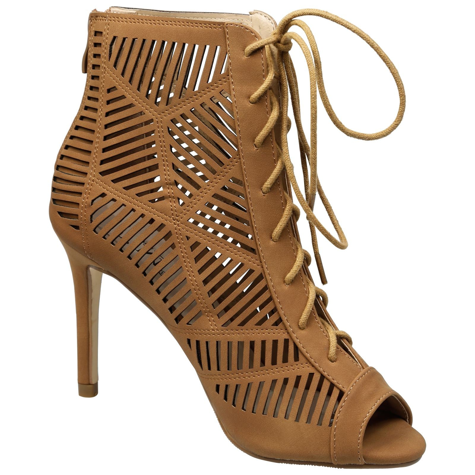 Anais Geometric Cut Out Ankle Boots in Camel