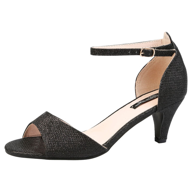 Laurie Low Heel Ankle Strap Sandals in Black Shimmer