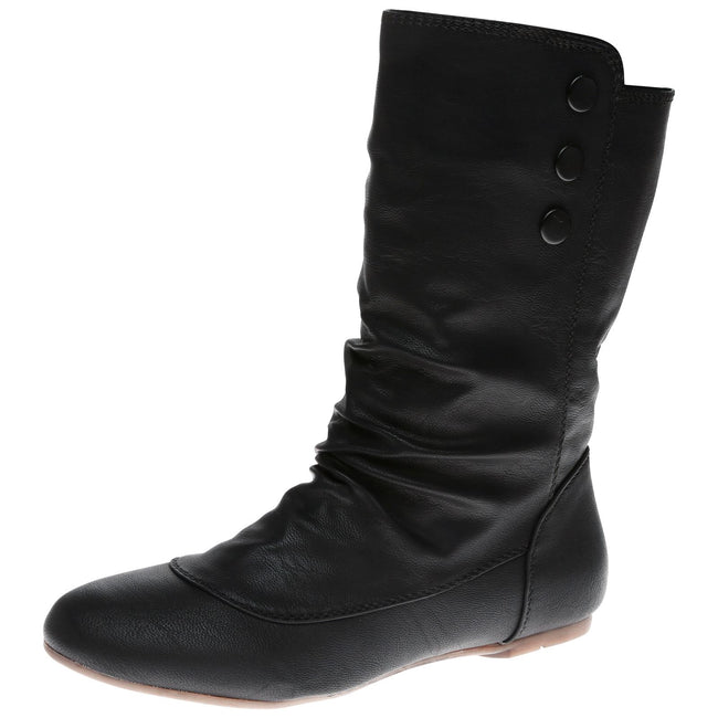 Eileen Flat Mid Calf Boots in Black Faux Leather