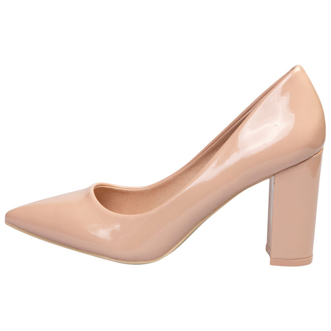 Connie Block Heel Court Shoes in Nude Patent