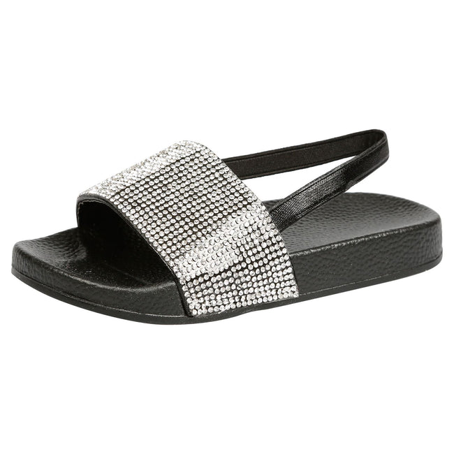 Sue Girls Elasticated Diamante Sliders in Black - Feet First Fashion