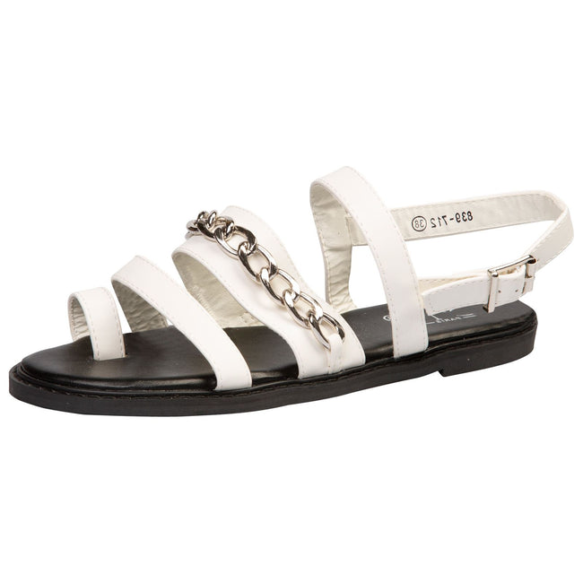 Samantha Toe Ring Chain Sandals in White Faux Leather - Feet First Fashion