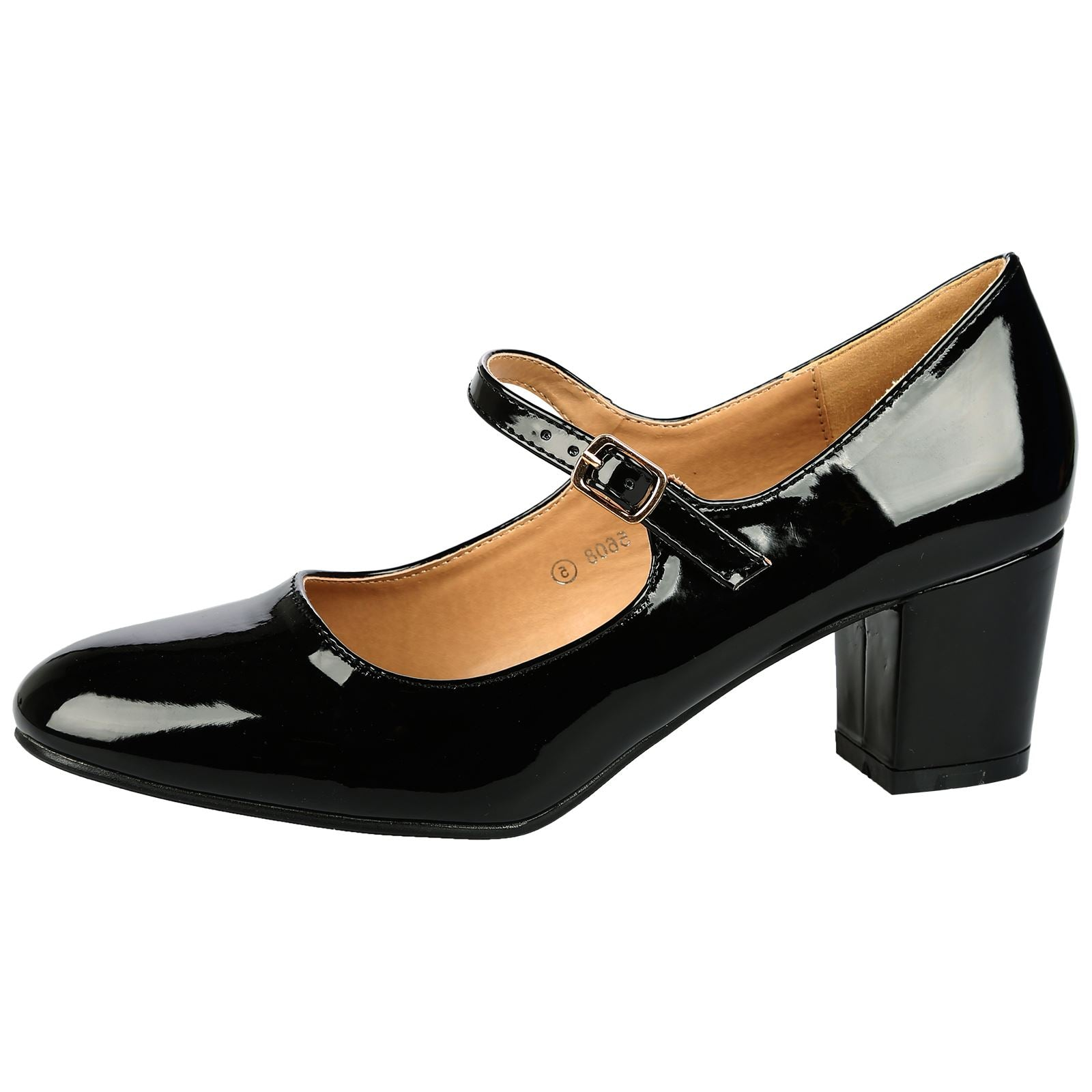 Xanthe Classic Block Heel Mary Janes in Black Patent