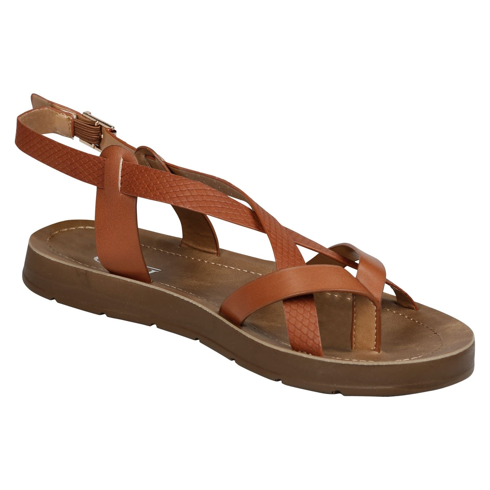 Zelda Strappy Footbed Sandals in Camel Faux Leather