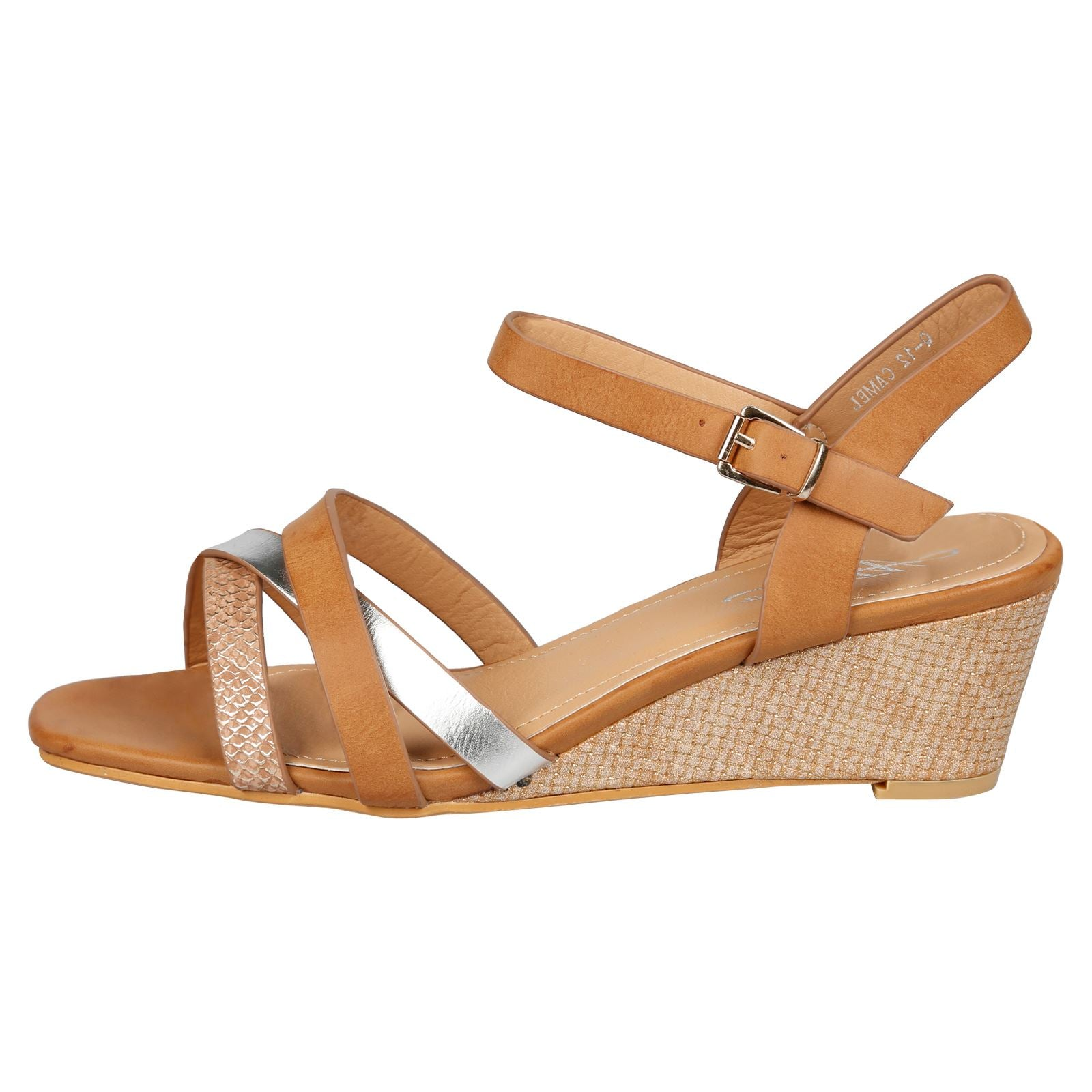 Marjorie Low Wedge Sandals in Camel Faux Leather