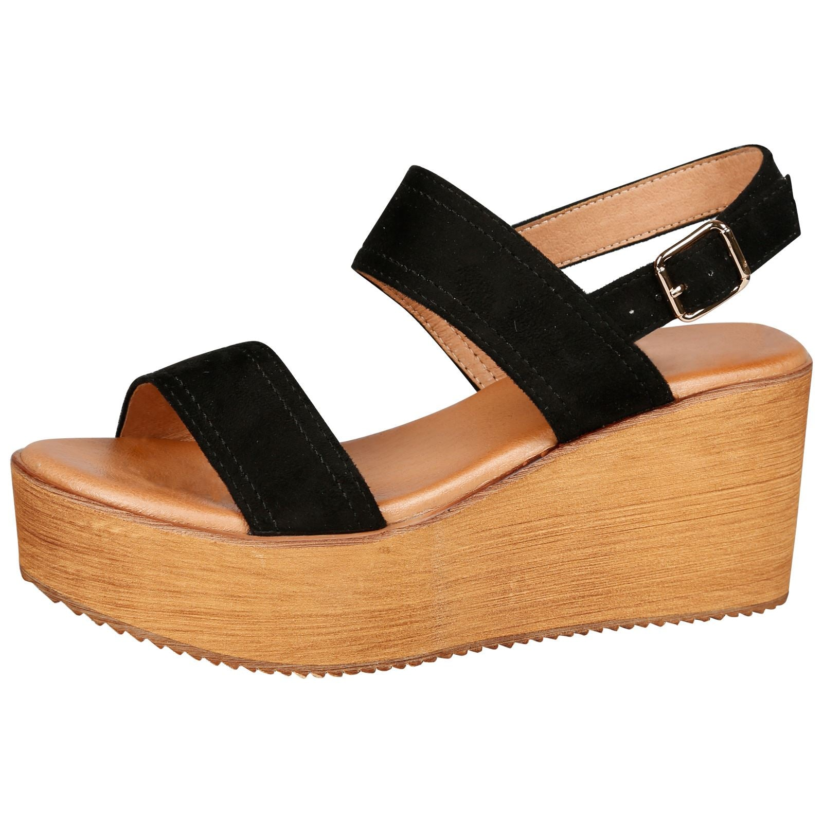 Darby Womens Platform Wedge Sandals in Black Faux Suede