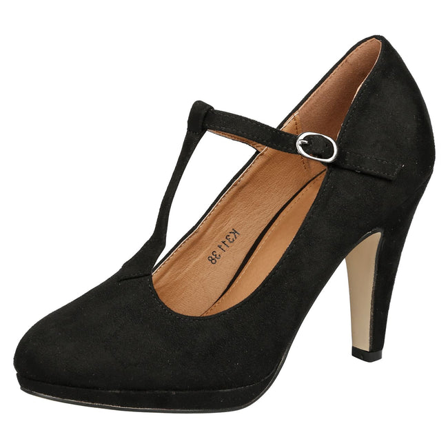 Milena Heeled T- Strap Pumps in Black Faux Suede