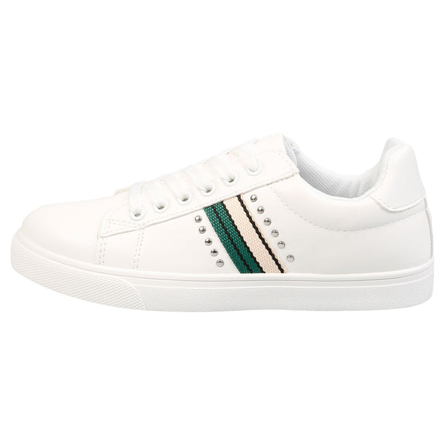 Verity Leather Look Stripe Trainers in White & Green