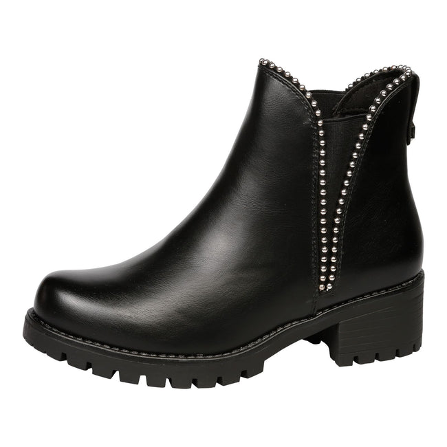 Kristina Beaded Chelsea Ankle Boots in Black Faux Leather - Feet First Fashion