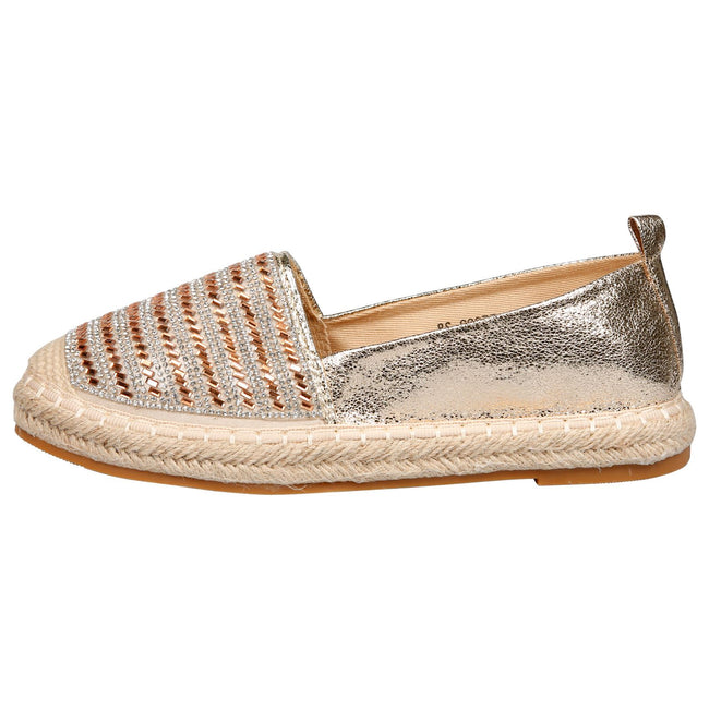 Keeva Diamante Metallic Espadrilles in Gold Faux Leather
