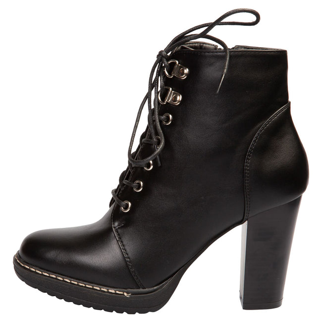 Reese Block Heel Ankle Boots in Black Faux Leather