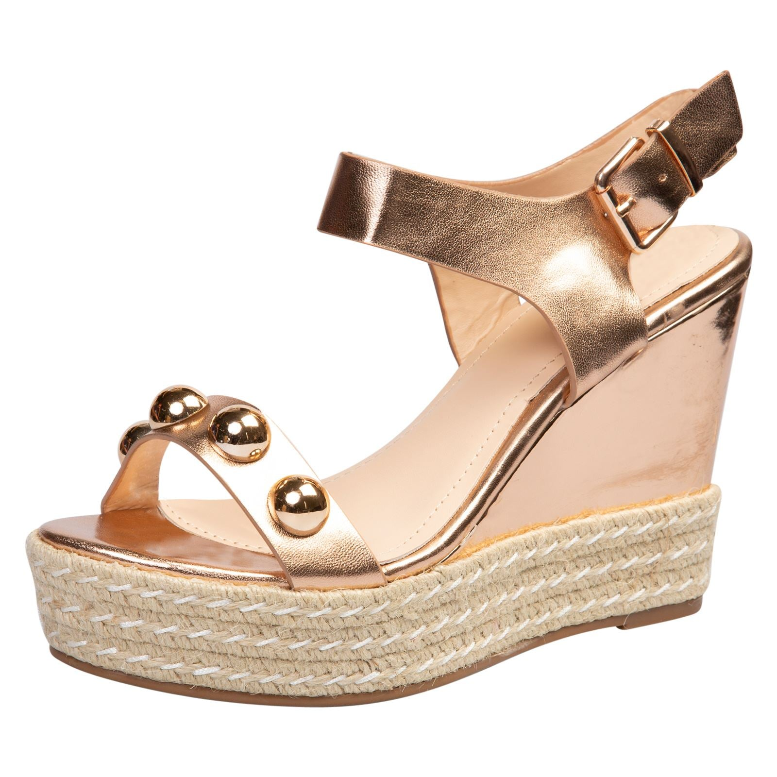 Iolanthe Studded Platform Sandals in Rose Gold Faux Leather - Feet First Fashion