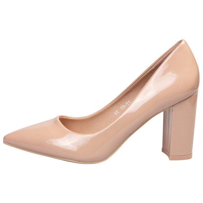 Connie Block Heel Court Shoes in Nude Patent - Feet First Fashion