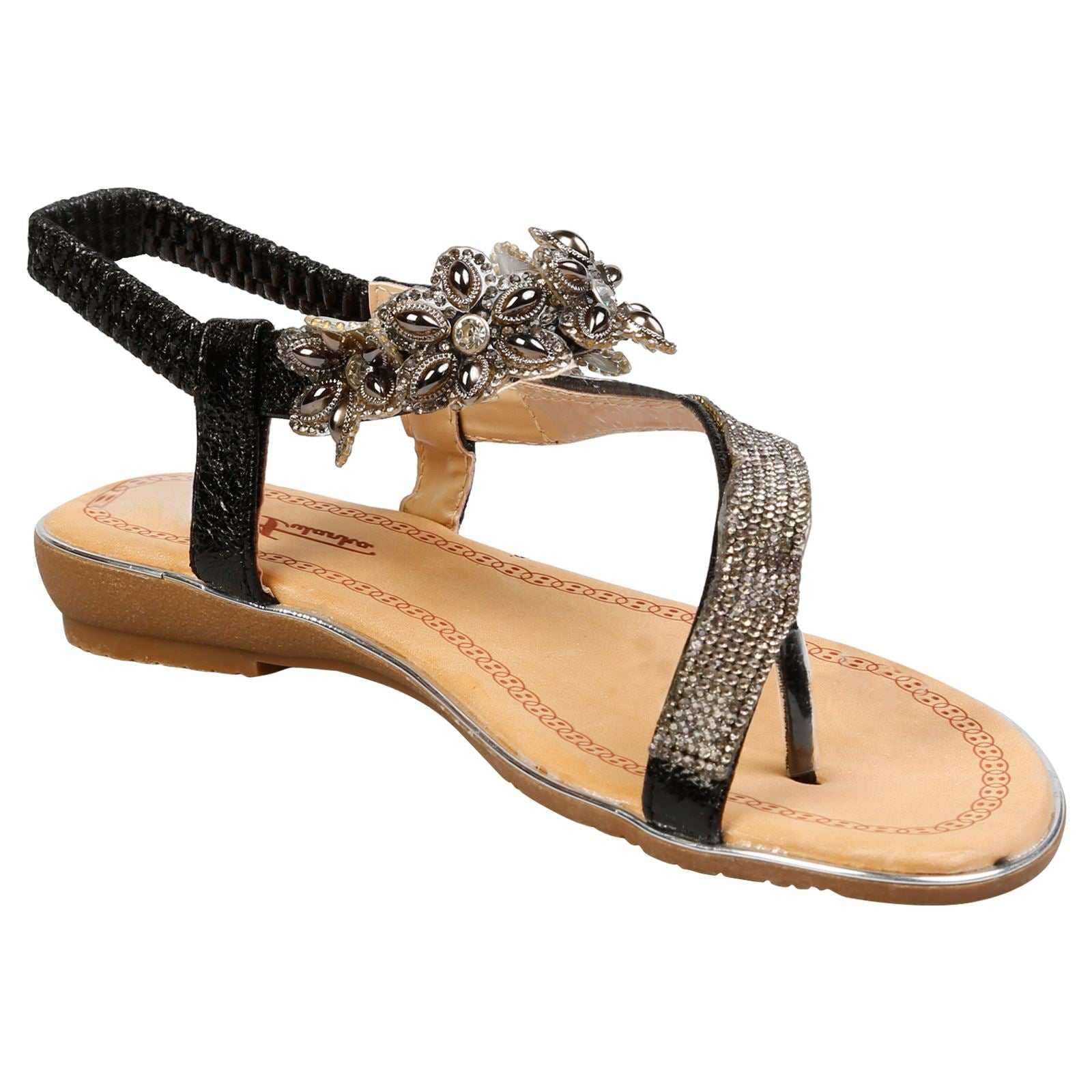 Celine Floral Diamante Sandals in Black