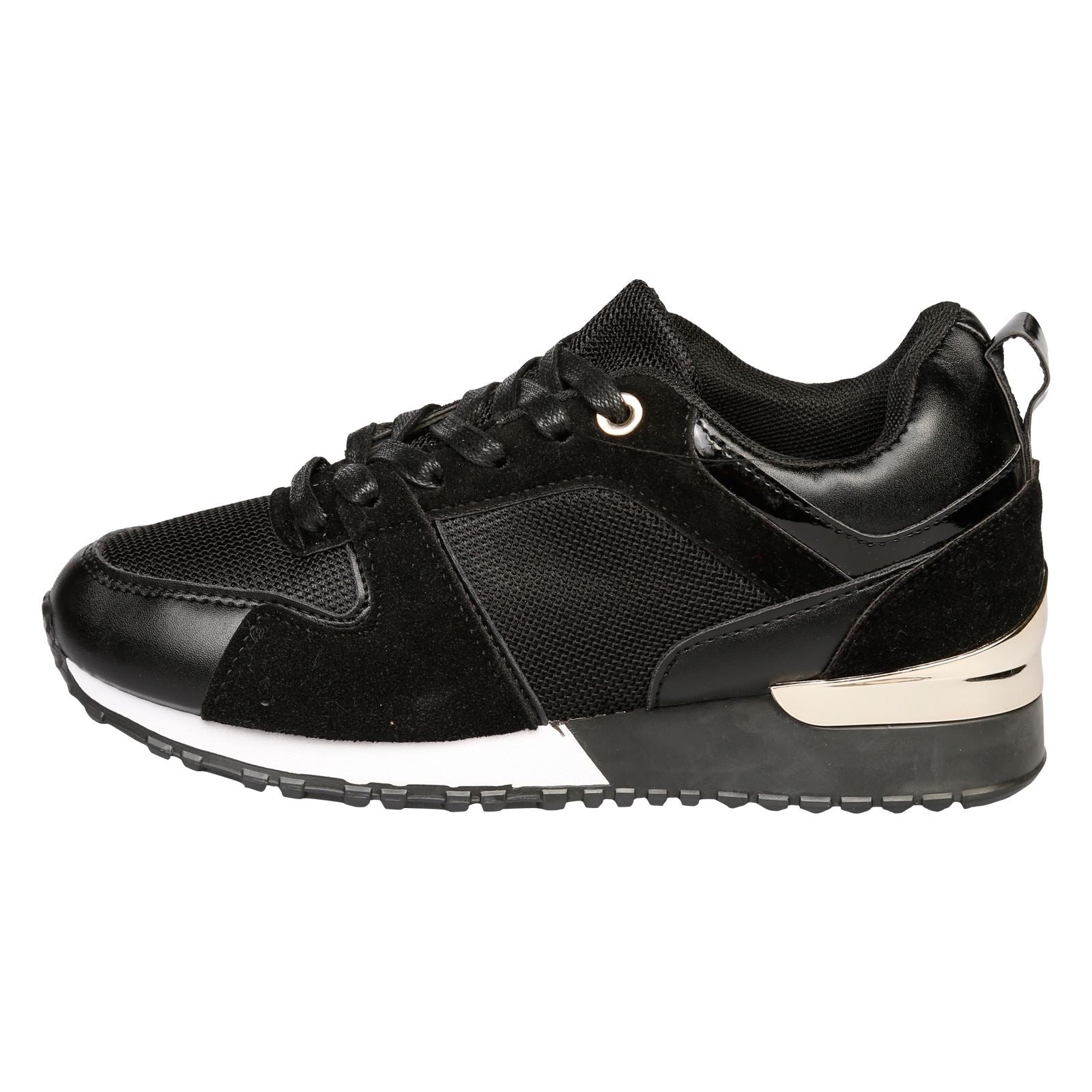 Blaire Lace Up Trainers in Black - Feet First Fashion