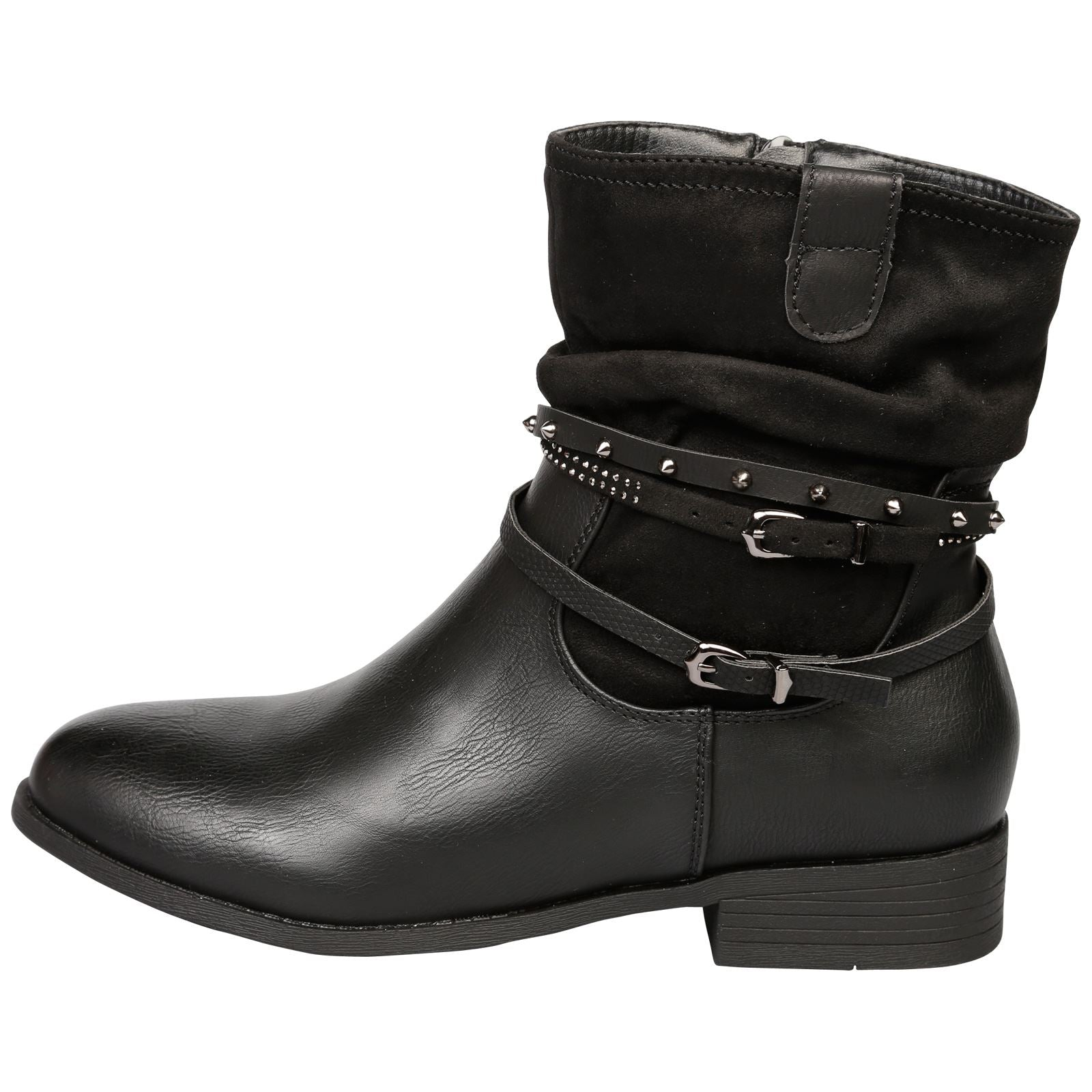 Dream Strappy Ankle Boots in Black - Feet First Fashion