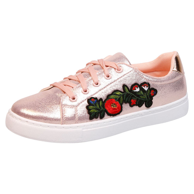 Halle Floral Embroidered Skater Pumps in Rose Gold Shimmer