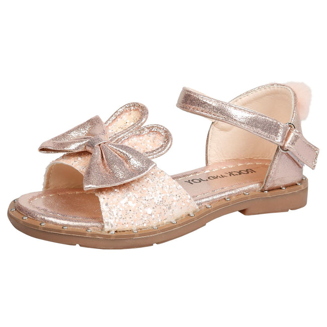 Kyra Girls Glitter Bunny Ear Pom Pom Sandals in Pink - Feet First Fashion