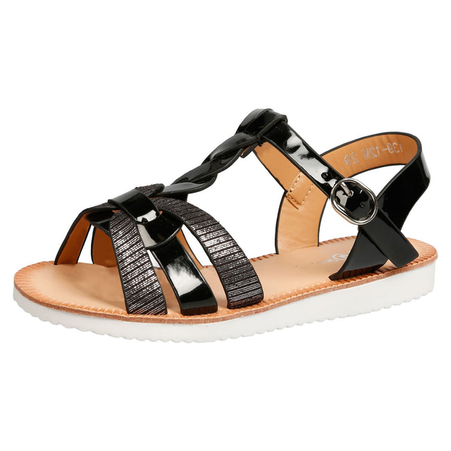 Yumi Girls Two Tone Strappy Sandals in Black Patent - Feet First Fashion