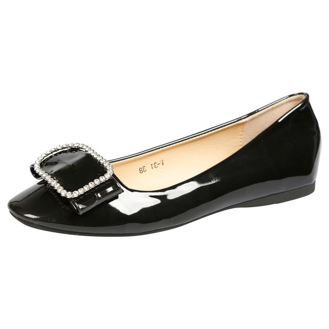 Julie Brooch Front Ballerina Flats in Black Patent
