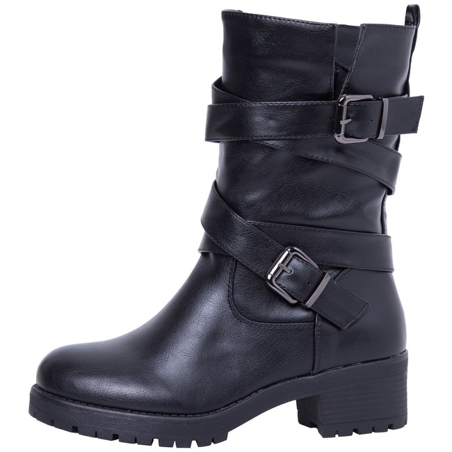 Raelynn Strappy Biker Boots in Black