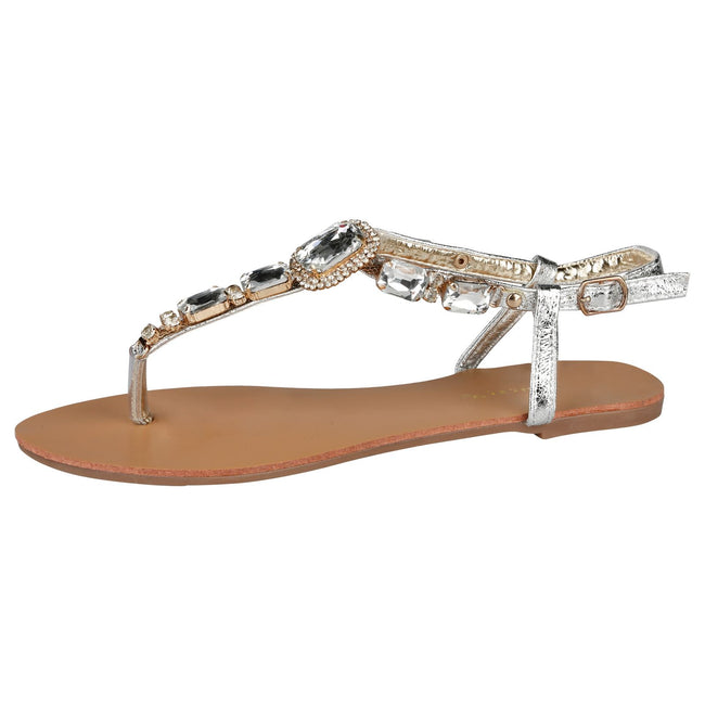 Zola Gem Embellished Sandals in Silver