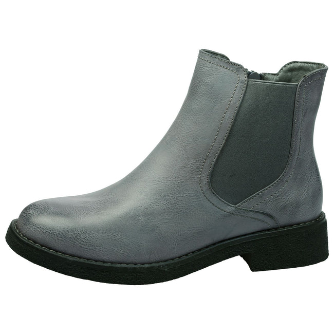 Soraya Classic Chelsea Ankle Boots in Grey Faux Leather