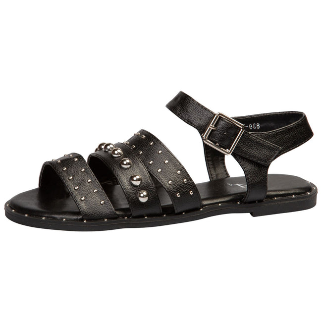 Elena Flat Studded Sandals in Black Faux Leather