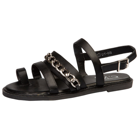 Lainey Flat Diamante Embellished Sandals in Black Faux Leather
