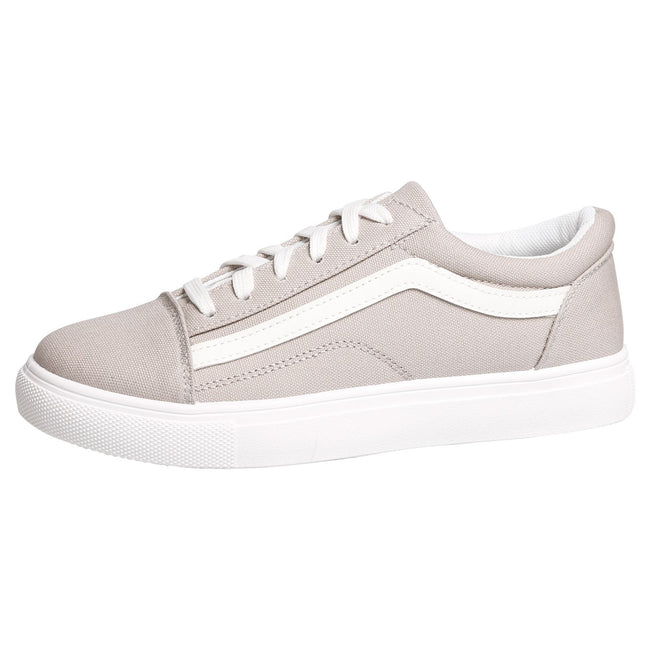 Lauren Lace Up Stripe Canvas Trainers in Grey