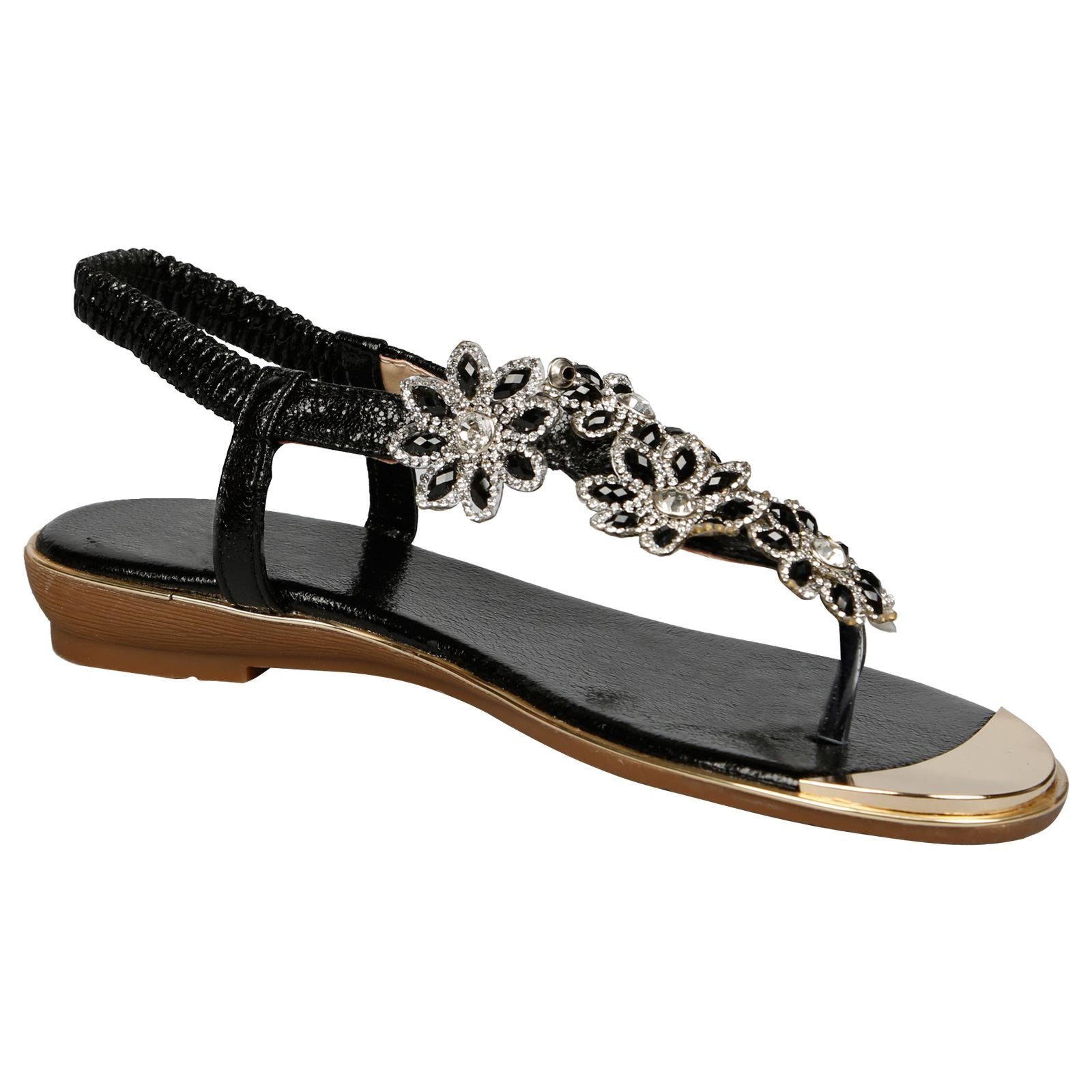 Tayla Floral Diamante Sandals in Black