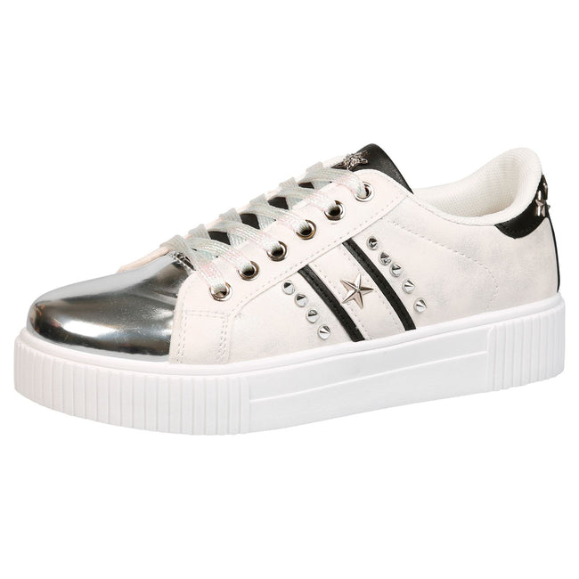 Imani Star Studded Trainers in White & Silver