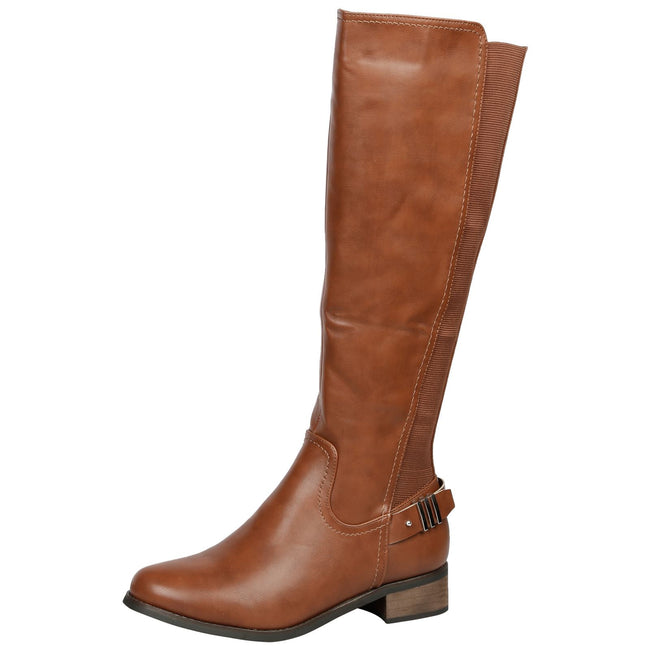 Scarlette Elasticarted Mid Calf Boots in Camel - Feet First Fashion
