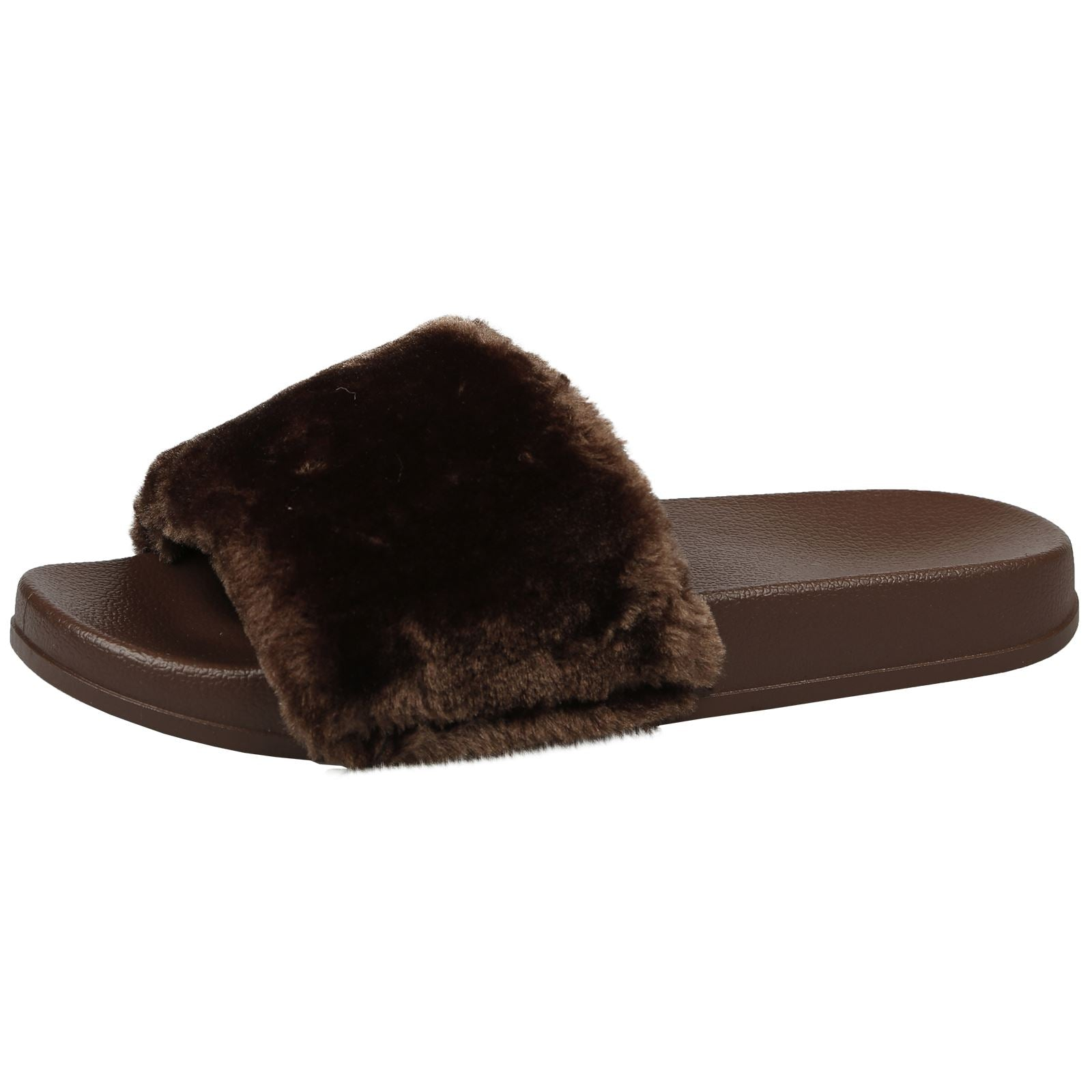 Romy Fur Trim Sliders in Brown