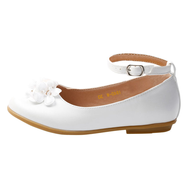 Nellie Girls Floral Ballerinas in White Faux Leather - Feet First Fashion