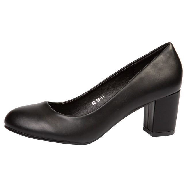 Mika Block Heel Court Shoes in Black Faux Leather