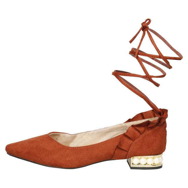Jaelynn Lace Up Ballerina Flats in Orange - Feet First Fashion