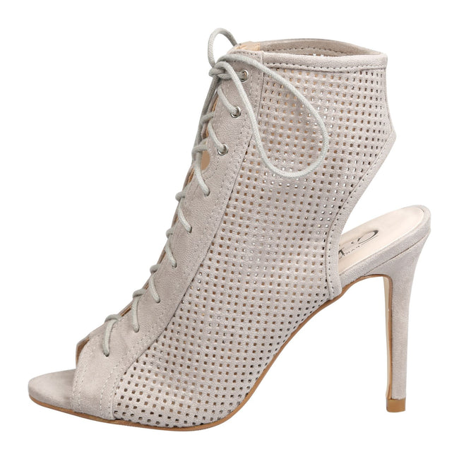 Branwen Lace Up Peep Toe Ankle Boots in Grey Faux Suede