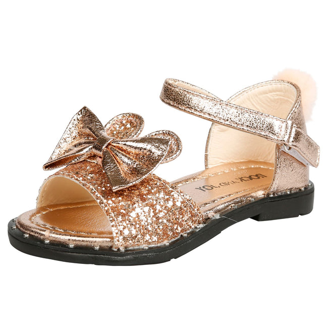 Kyra Girls Glitter Bunny Ear Pom Pom Sandals in Rose Gold - Feet First Fashion