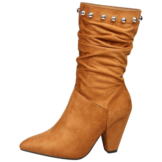 Analia Studded Slouch Boots in Camel - Feet First Fashion