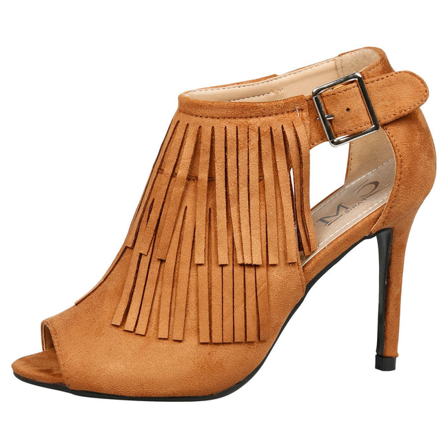 Zaha Fringed Peep Toe Booties in Camel Faux Suede